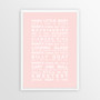 Hush Little Baby Nursery Wall Art Print in Blush with optional white solid timber frame
