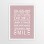 Expressions of Your World -Smile Print in Dusky Pink, with optional Australian-made white timber frame