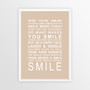 Expressions of Your World -Smile Print in Latte, with optional Australian-made white timber frame