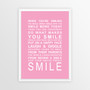 Expressions of Your World -Smile Print in Pink, with optional Australian-made white timber frame