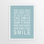 Expressions of Your World -Smile Print in Duck Egg Blue, with optional Australian-made white timber frame