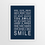 Expressions of Your World -Smile Print in Navy, with optional Australian-made white timber frame