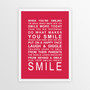 Expressions of Your World -Smile Print in Red, with optional Australian-made white timber frame