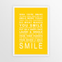 Expressions of Your World -Smile Print in Yellow, with optional Australian-made white timber frame