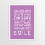 Expressions of Your World -Smile Print in Purple, with optional Australian-made white timber frame