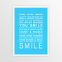 Expressions of Your World -Smile Print in Sky Blue, with optional Australian-made white timber frame