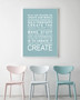 Expressions - Create Print in Duck Egg Blue, with optional Australian-made white timber frame
