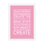 Expressions - Create Print in Pink, with optional Australian-made white timber frame