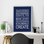Expressions - Create Print in Navy, with optional Australian-made white timber frame