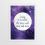 Personalised Loved to the Stars and Moon Print in Purple Space