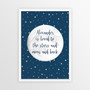 Personalised Loved to the Stars and Moon Print in Navy Stars