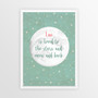 Personalised Loved to the Stars and Moon Print in Pistachio Grey