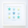 "Large (14"" x 14"") Shooting Stars - Grid - Frame in Custom Aqua, Yellow, Blue"