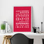 Always Remember - You're a Superhero wall art print in Red with optional white timber frame