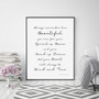 You are Beautiful, Brave and Fierce Wall Art Print in Monochrome, with optional Australian-made black timber frame