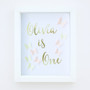 Personalised Gold Foil Paper Art Butterfly Birthday Frame with pink and yellow butterflies