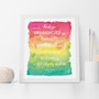 Teacher Thank You and Appreciation Print in Rainbow with optional Australian-made white solid timber frame.