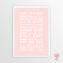 Hush Little Baby Instant Digital Downloadable Print in Blush