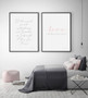 Two Souls in Love Forever Wall Art Print, with optional black timber frame. Shown with Love with all your Heart and Soul Print.