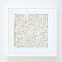 London Paper Cut Map, with optional white timber frame.