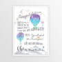 Dr Seuss Graduation Congratulations - Personalised Print in Blue with optional white timber frame