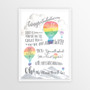 Dr Seuss Graduation Congratulations - Personalised Print in Rainbow with optional white timber frame