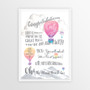 Dr Seuss Graduation Congratulations - Personalised Print in Pink with optional white timber frame