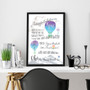 Dr Seuss Graduation Congratulations - Personalised Print in Blue with optional black timber frame