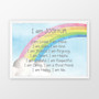 Kids Rainbow Affirmation - Personalised Print  in Blue