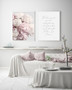 Peony Blush Print with optional white timber frame, shown with Two Souls in Love Print