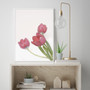 Perfect Love Tulip Wall Art Print, with optional Australian-made white timber frame
