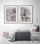 Elegance Dusty Pink Rose Photographic Wall Art Print shown with Tatiana Rose Photographic Wall Art Print in optional deep rebate black timber frame