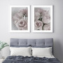 Elegance Dusty Pink Rose Photographic Wall Art Print shown with Tatiana Rose Photographic Wall Art Print in optional deep rebate white timber frame