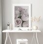 Elegance Dusty Pink Rose Photographic Wall Art Print in optional deep rebate white timber frame