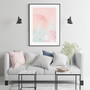 Blush Mountain Sunset - Abstract Watercolour Wall Art Print in optional Australian-made black timber frame