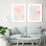 Blush Mountain Sunset - Abstract Watercolour Wall Art Print in optional Australian-made white timber frame, shown with Blush Mountain Moonlight Print.