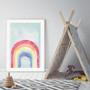 Aqua Skies - Abstract Rainbow Watercolour Wall Art Print