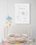 Personalised Elephant Birth Print in Blush & Grey