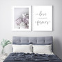 Love You Always and Forever Typography Wall Art Print in Grey, with Peony Love Print