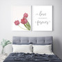 Love You Always and Forever Typography Wall Art Print in Grey, with Perfect Love Tulip Print