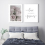 Love You Always and Forever Typography Wall Art Print in Grey, with Elegance Rose Print