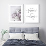 You Will Forever Be My Always Typography Wall Art Print in Grey with Peony Love Print