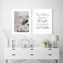 Enchanted Rose Photographic Wall Art Print shown with May Our Walls Know Joy Print in Modern Font