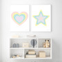 Rainbow Star (Pastel Yellow) - Instant Digital Downloadable Print, shown with Rainbow Heart (Pastel Pink) - Instant Digital Downloadable Print