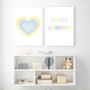 Rainbow Heart (Pastel Yellow) - Instant Digital Downloadable Print, shown with Smile Always Instant Digital Downloadable Print