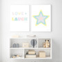 Love + Laugh - Instant Digital Download Print, shown with Rainbow Star (Pastel Yellow) Instant Digital Download Print