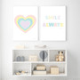Smile Always - Instant Digital Download Print, shown with Rainbow Heart (Pastel Pink) - Instant Digital Downloadable Print