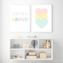Love Love Love Pastel Hearts - Instant Digital Download Print, shown with Love + Laugh Instant Download Print
