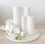 Marmoset Found - Smooth Infinity Vase - Snow (M) with Ribbed Infinity Vase - Nude (S)