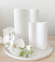 Smooth Infinity Vase - Snow (M) with Ribbed Infinity Vase - Snow (S)